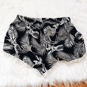 Pants - Black and white pineapple shorts